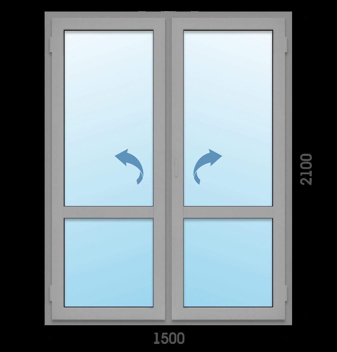 Алюминиевая дверь Двухстворчатая Татпроф МП-65