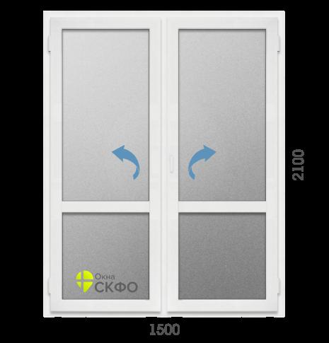 Дверь ПВХ Двухстворчатая дверь Prowins 70