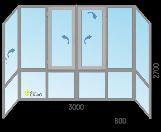 Витражное остекление балкона МП-65